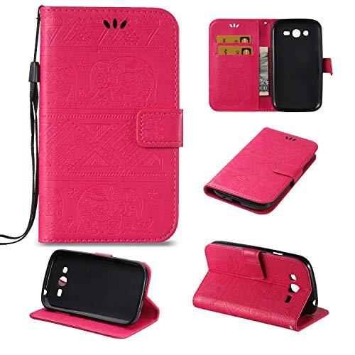 Ycloud PU Cuero Funda para Samsung Galaxy Grand Neo Plus/Grand Neo (i9060) Cierre Magnético Flip Billetera Soporte Función con Ranuras Diseño Elefante Motivo Rosa Roja Carcasa
