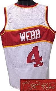 Autographed Spud Webb Jersey - White TB Custom Stitched Pro XL Hologram - JSA Certified - Autographed NBA Jerseys