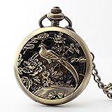 QB-Pocket watches Reloj de bolsillo de la vendimia phoenix clamshell reloj mecánico automático hueco Reloj de espejo de cristal que cuelga la celebridad reloj antiguo de la vendimia