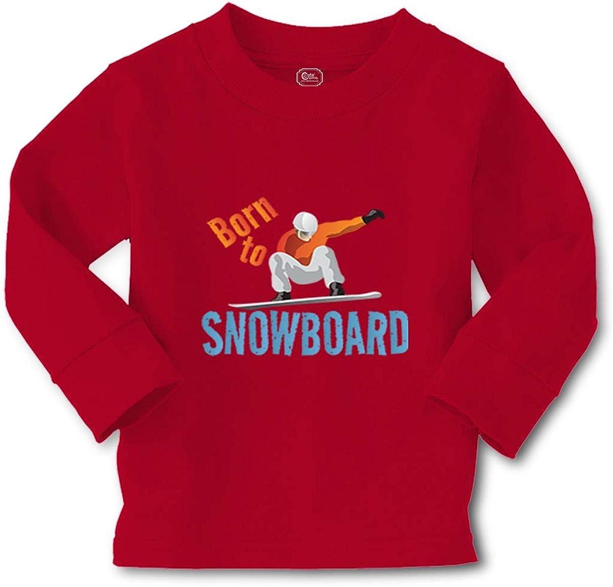 Kids Long Sleeve T Shirt Born to Snowboard Sport Cotton Boy & Girl Clothes