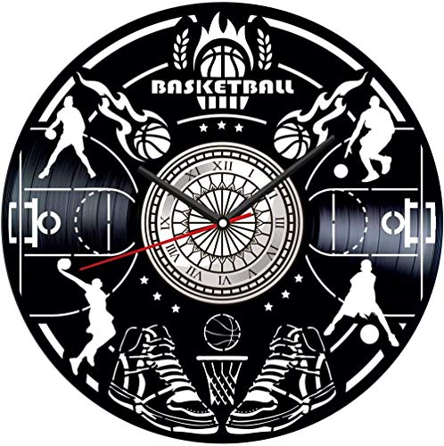 TJIAXU Reloj de Pared con Disco de Vinilo de Baloncesto, decoración única para el hogar, Regalo Hecho a Mano para Hombres, Mujeres, Amigos, niños