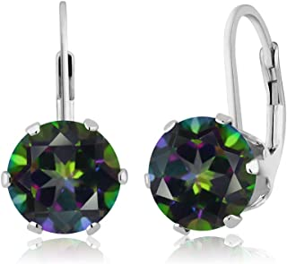 5.40 Ct Round Mystic Topaz 925 Sterling Silver 6-prong Leverback Women's Earrings 8mm