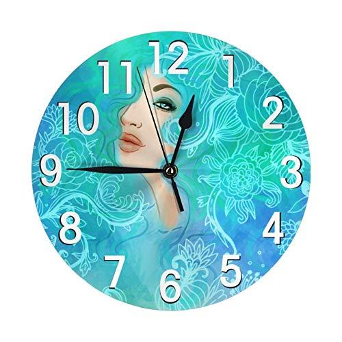 Lewiuzr Reloj de Pared para Mujer de Moda, con Pilas, silencioso, sin tictac, Reloj Redondo, decoración de Pared artística, 9,8 Pulgadas