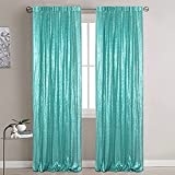 Sequin Backdrop Glitter Backdrop Sequin Backdrop Curtain 2 Panels 2ftx8ft Blackout Curtains Photo Backdrop for Graduation 2020 to Baby Shower Wedding Party Videos (2ftx8ft, Teal)