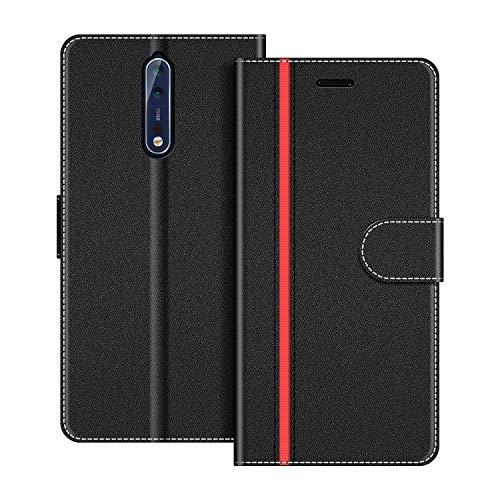 COODIO Custodia per Nokia 8, Custodia in Pelle Nokia 8, Cover a Libro Nokia 8 Magnetica Portafoglio per Nokia 8 Cover, Nero/Rosso