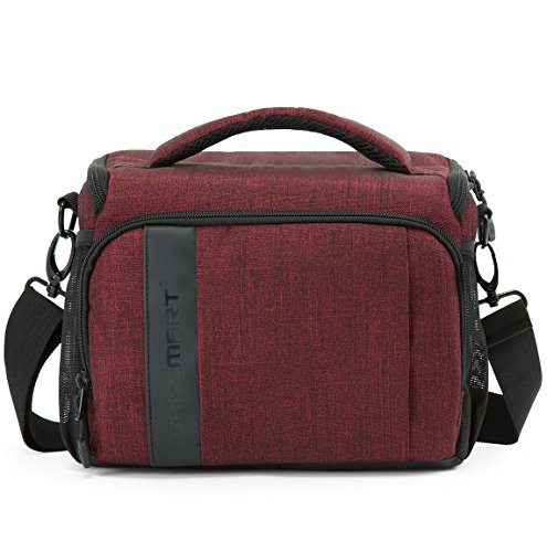 BAGSMART Compact Camera Bag Shoulder Bag for SLR/DSLR with Waterproof Rain Cover, Heather Red