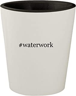 #waterwork - White Outer & Black Inner Hashtag Ceramic 1.5oz Shot Glass