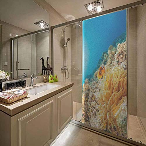 Running Drop Non Adhesive Frosted Window Film Glass Stickers, Anemone Clownfish Underwater Sea Life Scuba Diver Point, Opaque Non-Adhesive Frosted Window Film Decorative W35.4 x L78.7 Inch