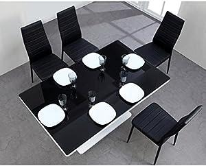 LUCIA Table a manger 8 pesonnes 150x90 cm - Noir et blanc