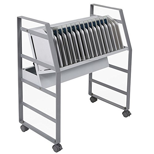 Luxor Rolling 16 Tablet/Chromebook Open Charging Cart with Steel Frame, Cord Management Included