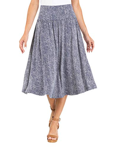 Pleated circular skirt Midi length Tummy control Rounded hem Machine wash in cold water with like colors