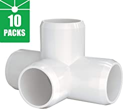 4-Way 1 inch PVC Fitting,Tee Pipe Fittings PVC Connectors - Build Heavy Duty Furniture Grade for 1 inch Size Piple,White [Pack of 10]