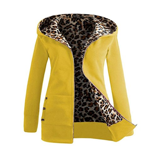 Trada Damen Wintermantel, 1 STÜCK Frauen Plus Samt Verdickt Kapuzenpullover Leopard Zipper Coat Strickjacke Outwear Hoodie Baumwolle Trenchcoat Mantel Winter Warm Coat (M, Gelb)