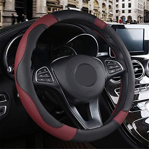 LUYISH Steering Wheel Covers Sport Stijl Contrast Kleur Niet-slipCar Stuurwiel Cover Sweat Goede Ademende PU Kunstleer 15 Inch Wijn Rood