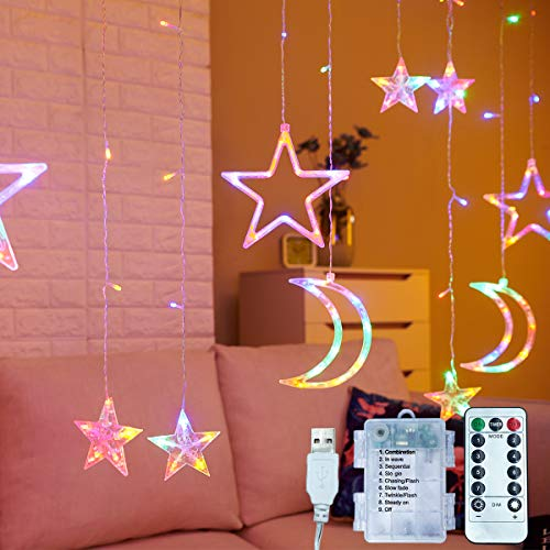 11.5ft Decorative Starry String Curtain Lights Moons and Stars LED Night Light for Home Decoration Party,Remote Control AA Battery/USB Powered
