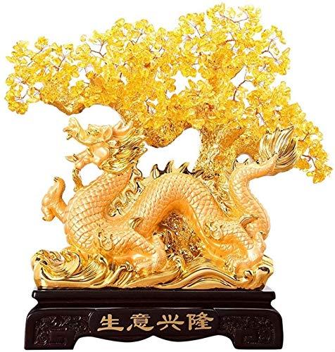 IUYJVR Piedras Preciosas Árbol de los bonsais/Árbol de Cristal Feng Shui Citrino Árbol del Dinero Grifo Árbol de Cristal Dragón Chino Fortuna Árbol de Cristal Árbol de Regalo Árbol de Cristal Cur