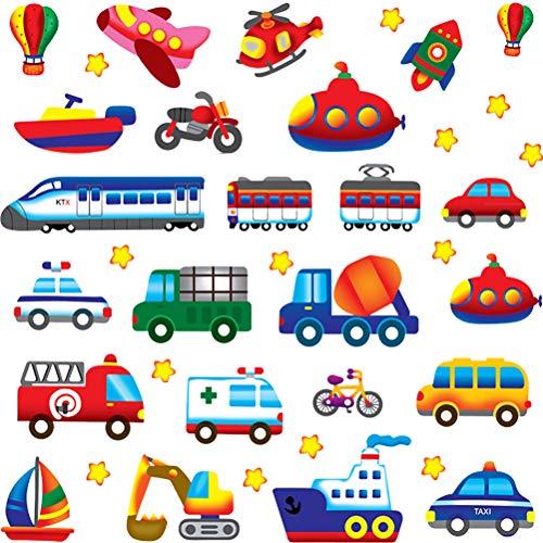 YUESEN Transporte Coches Vehículos Pared Adhesivo 2 Pcs Transportes Vinilo Pegatinas Decorativas Adhesiva Pared Dormitorio Salón Guardería Habitación Infantiles Niños Bebés