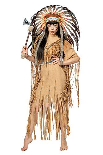 Damen Indianer Kostüm Verkleidung mit Federn und Fransen mit Kleid, Kopfschmuck, Tomahawk, in Veloursleder Optik XL