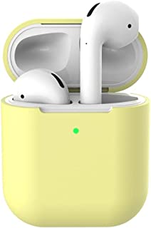AirPods Accessories Set,Silicone Anti-lost Protective Cover Skin Case for Apple AirPods 2 Charging Case Yellow