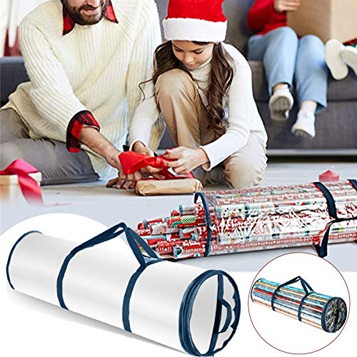 Gpure Bolsa de Almacenamiento para Papel de Regalo Navidad Rollo Impermeable Plastico Bolsa Azul Almacenaje de Adornos Festivos Transparente M/L Grande Carteles Organizador de Papel de Regalos