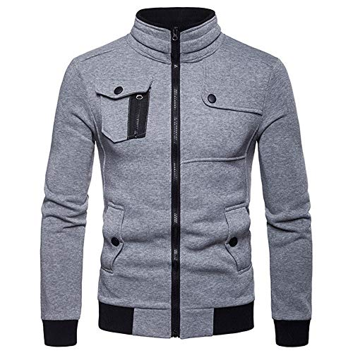 Men's Sweat Jacket Cardigan Stand Collar Zipper Men's Jacket Outdoor Movement Sweatshirt Spring and Autumn New Men's Long Sleeve Sport Style Casual Jacket L Gray