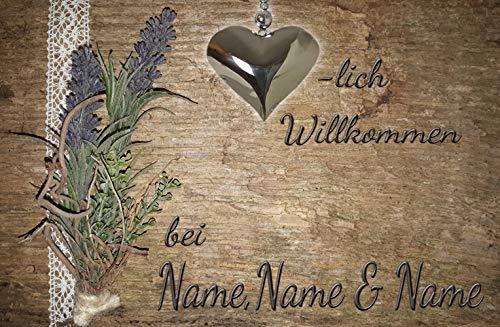 Eule-Design.de Fußmatte Motiv Vintage Lustig Landhaus Shabby Retro Schmutzfangmatte als Geschenk (60x40, Lavendel mit Holzoptik)