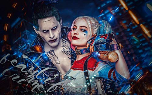 Mutuco DIY 5D Diamond Painting Kits for Adults Diamond Painting,Harley Quinn & Joker,Full Drill Crystal Rhinestone Embroidery Home Wall Decor Gift 16x24 Inches