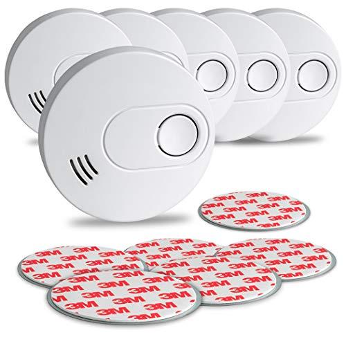 SEBSON Rauchwarnmelder inkl. Magnethalter, 10 Jahres Langzeit Batterie, Rauchmelder DIN EN 14604 VDs 3131, Stummschaltung, GS526 q Zertifiziert 6er Pack