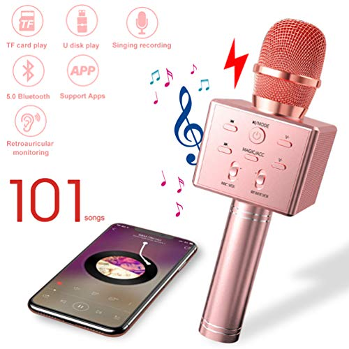 Bluetooth Karaoke Mikrofon Drahtloses, Tragbarer Kinder Karaoke Mikrophone Maschinen, Home Party Musik Singen Microfon KTV Player mit Lautsprecher und Aufnahmefunktion für IOS/Android/iPad/PC