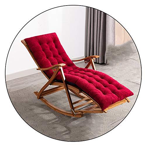 XEWNEGTZI Schaukelstuhl Bambus Faltbarer Teleskop Einfacher Balkon Wohnzimmer Schlafzimmer Siesta Liege Mit Massage Fußstütze Und Kissen Lounge Chair, Ladung 200kg(Color:Stuhl + rotes Kissen)