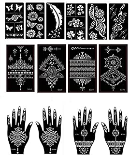 Henna Tattoo Stencil/Temporary Tattoo Temples Set of 14 Sheets,Indian Arabian Tattoo Reusable Stickers Stencils Body Art Designs for Hands Body