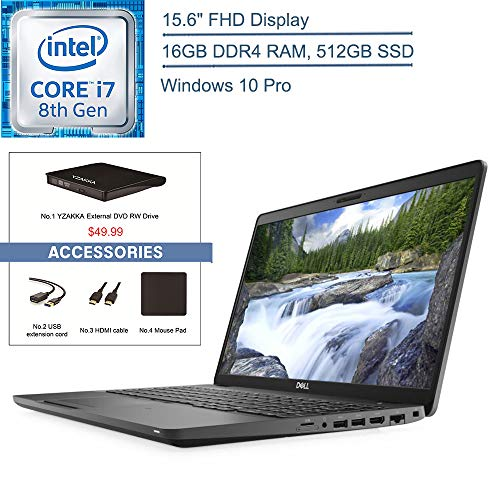 "2020 Dell Latitude 5500 15.6"" FHD Business Laptop Computer, Intel Quad-Core i7-8665U Up to 4.8GHz, 16GB DDR4 RAM, 512GB SSD, 802.11AC WiFi, HDMI, Windows 10 Pro, YZAKKA USB External DVD + Accessories"