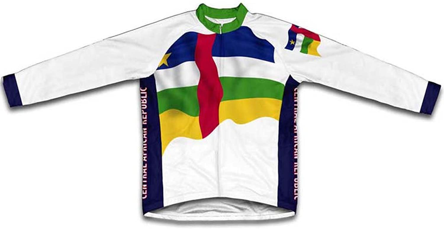 Central African Republic Flag Winter Thermal Cycling Jersey for Women