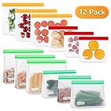 UOON 12 Confezioni-4 Dimensioni-Sacchetti Alimenti Riutilizzabili - Sacchetti Silicone per Alimenti -Sacchetti in Silicone per Alimenti per Frutta,Verdura,Carne-Senza BPA-Sacchetti per Alimenti