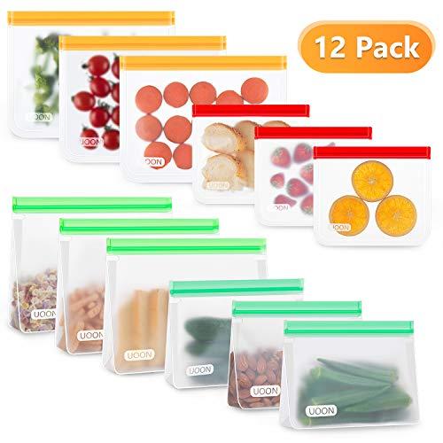 UOON Sac de Congélation Nourriture Réutilisables, 12 Pcs PEVA Ziplock Récipents de Rangement 6 Sacs Debout et Six Sacs Plat Multifonction Sac de Conservation Alimentaire pour Légumes, Fruits, Viande