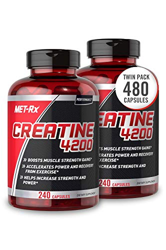 MET-Rx Creatine 4200 Supplement, Supports Muscles Pre and Post Workout, 240 Count Per Bottle, 2 Pack (480 Total Count)