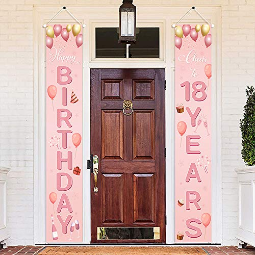 Pink 18th Anniversary Birthday Party18th Birthday Party Indoor Outdoor Welcome Corridor Sign Cheer Celebrate 18th Birthday Cheer Celebrate 18th Anniversary Banner Party Decorations