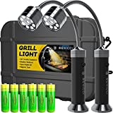 Benicci Flexible LED BBQ Grill Lights Set of 2 - The Perfect Grilling Accessories Light with 360-Degree Magnetic Base and Gooseneck - 100% Portable Weatherproof Outdoor Lamp w/ 6 Batteries Included