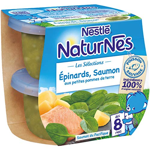 NESTLE NATURNES Les Sélections Petits Pots Bébé Epinards, Saumon aux petites pommes de terres - Dès 8 mois - 2x200g - Pack de 8 ( 16 Pots )