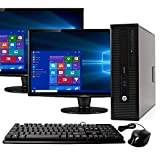 HP Elite 800G1 Desktop Computer Package - Intel Quad Core i5 3.3GHz, 16GB RAM, 240GB SSD + 2TB HDD, Windows 10 Pro, Dual 19 inch Monitors, Keyboard, Mouse (Renewed)