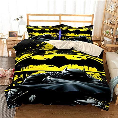 3D Batman Duvet Cover Set for Kids Marvel Heroes Batman Bedding 100% Microfiber