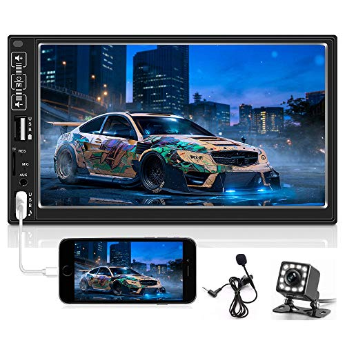 Hikity 7 Inch Digital Car Stereo Touchscreen Car Audio Receiver Bluetooth FM Radio Mirror Link Remote Control, Dual USB/AUX-in/SD Card/RCA Output Input, Rear View Camera & External Microphone