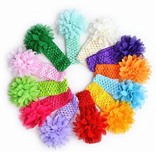 Vococal® 10 Couleur Bébé Enfants Fleur en Mousseline de Soie Tricot pour Bébé Bandeau Élastique Hairband Cheveux Boucles