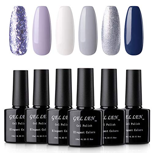 Gellen UV Gel Nail Polish Set - Pure Shimmering Glitters Winter Romance Series Popular Nail Art 6 Colors 10ml Each