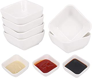 Belinlen 3 Ounce 6 Pack Ceramic Dip Bowls Set Porcelain Dip Mini Bowls Soy Sauce Dish/Bowls - Good for Tomato Sauce, Soy, BBQ and Other Party Dinner (White)