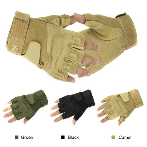 Simpleyourstyle Outdoor Sports Military Half-finger Fingerless Tactical Airsoft Hunting Riding Cycling Gloves Black Green Camel Available (Camel, M)