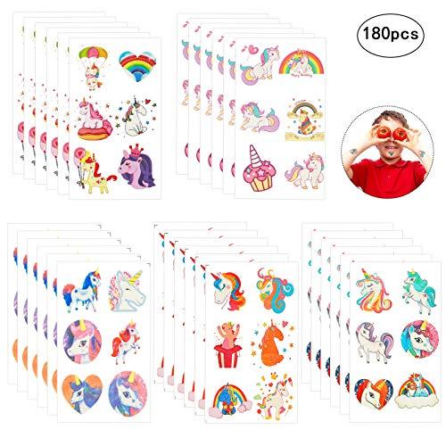 ZoomSky 180pcs tatuajes unicornio temporales de tatuajes niñas de cumpleaños de fiesta...
