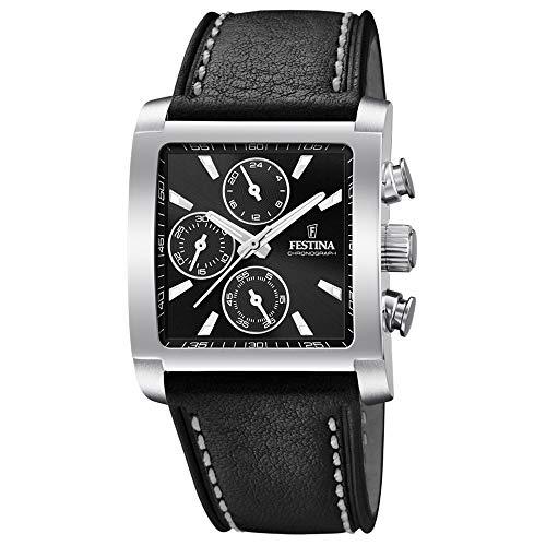 Festina Herren Chronograph Quarz Uhr mit Leder Armband F20424/3