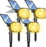 Biling Focos solares para Exteriores,30 LED 2-en-1 Luces solares para paisajes,Focos para jardín Ajustables,IP67 Luces de Pared con energía Solar a Prueba de agua-4PC(Blanco cálido)
