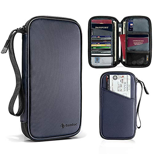 tomtoc 家族 旅行 パスポート ケース 通帳ケース スキミング防止 & 撥水加工 海外旅行 航空券対応 ポーチ バッグ カード入れ ハンドストラップ & ファスナー付き、 男女兼用、 パスポート6冊 カード9枚 PUレザー、 ネイビー